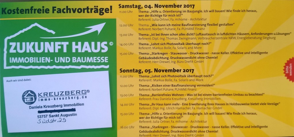Aktuell Zukunft Haus Messe Siegburg 04.11. - 05.11.2017